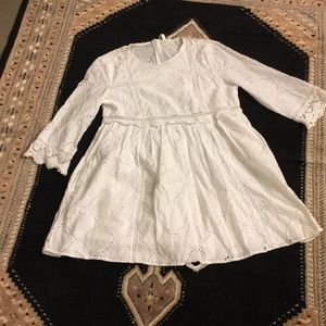 Zara white eyelet babydoll romper dress large